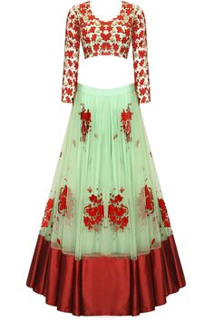 Astha Narang -- Mint green and red floral thread and sequins embroidered lehenga set