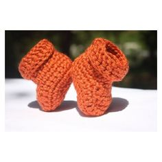 Cuffed Orange Baby Booties Newborn Booties Autumn Booties found on Polyvore