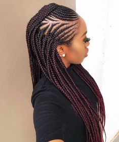 85 Box Braids Hairstyles for Black Women - Hairstyles Trends Rock Hairstyles, African Braids Hairstyles, Popular Hairstyles, French Hairstyles, Braids For African Hair, Latest Hairstyles, Braided Mohawk Hairstyles, Woman Hairstyles, Hairstyles Pictures