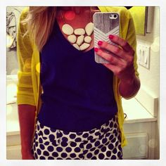Summer Ensemble: polka dot shorts from @Gap + Blue Tank + Yellow Cardigan and statement necklace