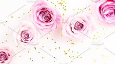Rose Stock Photo with Gold Glitter Graphics I can almost smell these beauties!!! Fresh Pink flowers on Gold Glitter!!!???USED BY: People like by Charmingly Savvy