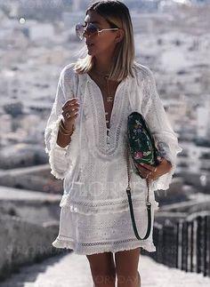 White Smock Dress Tassel Boho Girly Holiday Summer Plain Simply V Neck Short Shift Dress – bluejodi Long Sleeve Mini Dress, Long Sleeve Shirt Dress, Dress Long, Sleeved Dress, Dress Sleeves, Moda Hippie, Look Boho, Vacation Dresses, Summer Dresses For Women