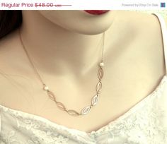 ON SALE Gold Pearl Necklace Bridal Delicate by YaelSteinberg