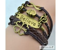 Armband Believe & Kleeblatt braun  im Organza Beutel