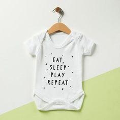 Eat, Sleep, Play, Repeat #babysleep First Birthday Presents, First Birthdays, Baby Sleep, Baby Baby, Baby Bedtime, Baby Onesie, Sports Stars, Expecting Baby, Baby Grows