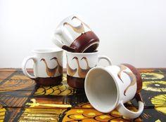 Vintage Stoneware Geese Mug Set of 4 Brown and by MODernThrowBack, $16.50