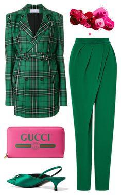 """Pink + Green"" by cherieaustin ❤ liked on Polyvore featuring Julia Seemann, Vika Gazinskaya, Gucci and Balenciaga"