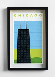CHI Chicago Travel Poster Print - Pilot and Captain