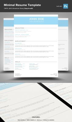 Minimal Resume PSD Template by Mike Moloney on @creativemarket