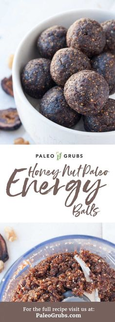 You have never had Paleo energy balls like these! Such a tasty nutrient-dense snack and dessert all rolled into one. Paleo Sweets, Paleo Dessert, Best Gluten Free Recipes, Paleo Recipes, Snack Recipes, Dessert Recipes, Paleo Energy Balls, Energy Bites, Paleo Honey