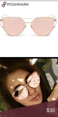 ✳️SALE Trendy Rose + gold sunglasses LIMITED Trendy reflective lens sunglass in rose color lens and gold trim. ❤️❤️❤❤️️Follow me on  INSTAGRAM: @chic_bomb  and FACEBOOK: @thechicbomb❤️❤️❤️❤️ Accessories Sunglasses
