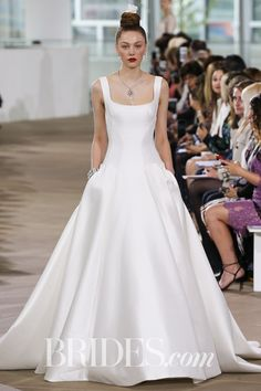Square Neck Wedding Dress | Square Neck Court Train Satin Ball Gown ...