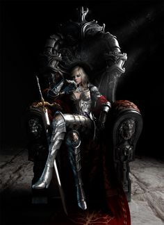 3D Art: Queen of the Monarchy - 3D, Concept art, FantasyCoolvibe – Digital Art  #Female #Warrior #Throne