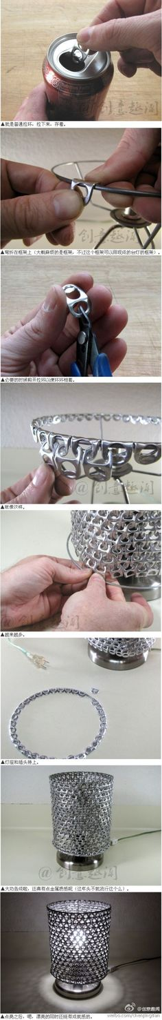 Pop tab lamp shade - so easy! You only need a lot! #DIY