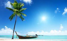 Lataa kuva Trooppinen saari, Thaimaa, ocean, ranta, palmuja, vene, kesä kulkee