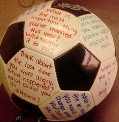 Use permanent marker to write questions on a ball (soccer, beach, volleyball etc) for use in counseling.