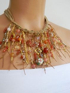 The unique design suede collar natural stone by WomanStyleStore, $34.00