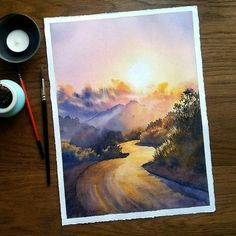 You're on a right track, keep going . Inspired by 's amazing picture Watercolor Drawing, Watercolor Landscape, Watercolor Illustration, Landscape Paintings, Acrylic Paintings, Abstract Landscape, Landscapes, Watercolor Lettering, Oil Paintings
