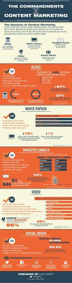 Hola: Una infografía sobre los mandamientos del Marketing de Contenidos. Vía Un saludo