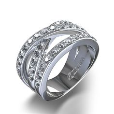Diamond Wedding Ring Round Cut Engagement Ring: Criss Cross 4 Ctw Diamond Ring In 14k White Gold