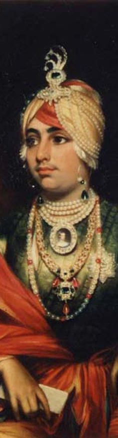 Maharaja Duleep Singh wearing a variety of jewelry including a presentation portrait miniature of Queen Victoria, ropes of pearls, and a diamond turban aigrette set with an enormous emerald. He also has hoop earrings with pearl and emerald beads.