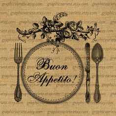 Buon Appetito Italian Quote Fork Knife Spoon by GraphicVariete, $1.00