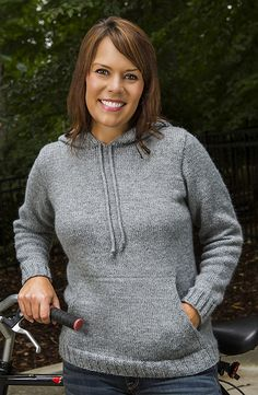 Made with Encore Worsted Boulder Top-Down Hoodie #B115 pattern by Sue McCain