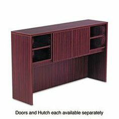 * Valencia Series Open Storage Hutch, 47w x 15d x 35-1/2h, Mahogany by MotivationUSA. $198.64. * A place for everything and everything in its place! Increase productivity and reduce desktop clutter with this durable laminate hutch. As stylish as it is practical, it features a compartmentalized storage system with adjustable shelves and can accommodate your computer monitor underneath for even greater space efficiency. Valance and wire access is included to facilitate task lightin...
