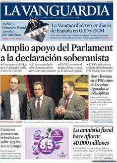 Los Titulares y Portadas de Noticias Destacadas Españolas del 24 de Enero de 2013 del Diario La Vanguardia ¿Que le parecio esta Portada de este Diario Español?