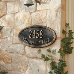 Beaded Oval One Line Wall Address Sign - traditional - house numbers - Ballard Designs Decor, Outdoor Decor, Front Landscaping, Traditional House Numbers, House Warming Gifts, Wall, Wall Signs, Ballard Designs, Outdoor Signs