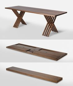 FOLDING TRESTLE TABLE... maybe we can hide this in the bench! Or have it as part of it