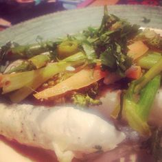 #hake en papillote with broccoli and carrots  with so much garlic and ginger http://www.foodforliving.ie/