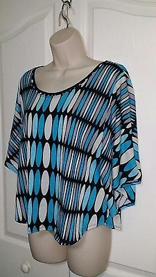 New Directions ND Womens Size Large Batwing Dolman Blouse Top Blue White Black