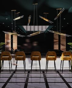 Get the best lighting and furniture inspirations for your interior bar project! Discover more at luxxu.net