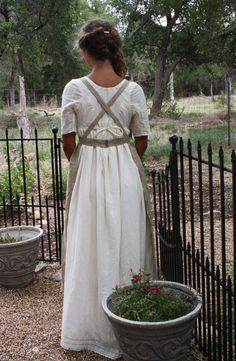 Regency Apron, Jane Austen Linen Apron - Sense and Sensibilty / Emma - ready to…
