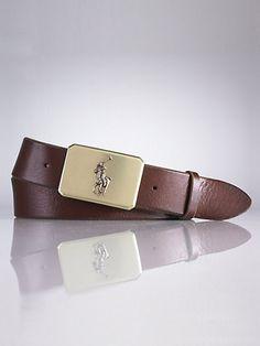 a2d33e67c4294 Plaque-Buckle Leather Belt - Belts Men - Ralph Lauren UK http