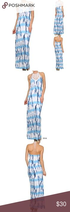 Tie Dyed Halter Crochet Maxi Blue White Dress Tie Dyed Halter Crochet Maxi Blue White Dress. Beautiful, sexy open back, made of soft flowy jersey material. Estam Dresses Maxi