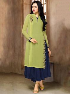 Flamboyant light green and navy blue georgette ceremonial wear embroidered kurti. Having fabric georgette and santoon. The thread work, embroidery work and resham embroidery work seems chic and great for any party. Look Fashion, Hijab Fashion, Indian Fashion, Fashion Dresses, Kurti Designs Party Wear, Kurta Designs, Blouse Designs, Pakistani Dresses, Indian Dresses