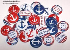 """Nautical Baby Shower Party Favors Set of 30 Buttons 1"""" or 1.5"""" or 2.25"""" Pin Back Buttons or 1"""" Magnets Baby Boy Shower Red White Blue by DistinctDesignsUnltd on Etsy https://www.etsy.com/listing/160733691/nautical-baby-shower-party-favors-set-of"""