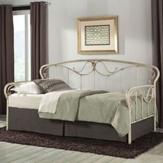 Not white but it would kind of blend in with the tan walls....   hmmm......Fashion Bed Group Verona Daybed with Free Mattress