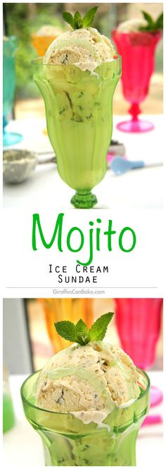 """Mojito Ice Cream Sundae by Giraffes Can Bake - homemade """"no churn"""" Rum and Lime Mint Ice creams with thick lime sauce make this the perfect summer treat!"""