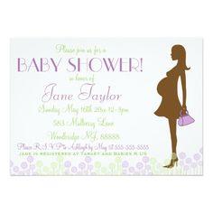 Purple Silhouette Baby Shower 5x7 Paper Invitation Card