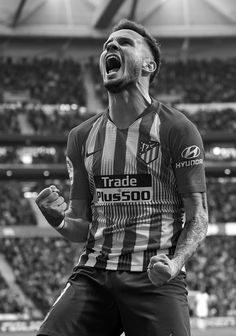 Saul Niguez of Atletico de Madrid celebrates after scoring his team's. Villarreal Cf, Sports Images, Football Wallpaper, Play Soccer, Lionel Messi, Cute Boys, Beauty Women, Sexy Men, Celebrities