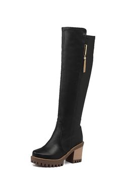 AmoonyFashion Women's High-Heels Round Closed Toe Soft Material Pull-on Boots with Charms ** Continue to the product at the image link.
