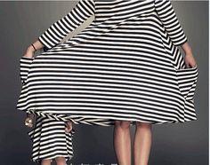 2016 Mutter-Tochter-Kleider Mode Langarm-gestreifte Familie Schauen Passende Kleidung Cotton Mutter und Tochter Kleid Familie Kleidung