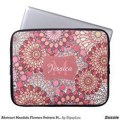 Abstract Mandala Flowers Pattern Pink Personalised Laptop Sleeve
