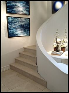 The curve around this deco limestone plaster staircase is so sensuous. (Taken at the Palm Beach Antique Show)