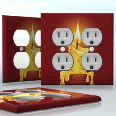 DIY Do It Yourself Home Decor - Easy to apply wall plate wraps   Candlelight  Melted candle  wallplate skin sticker for 2 Gang Wall Socket Duplex Receptacle   On SALE now only $4.95