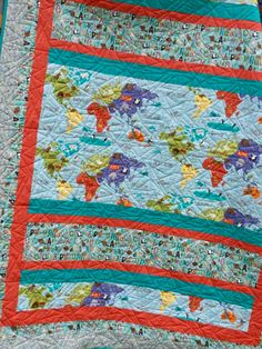 28 best quilt kits for sale on etsy images on pinterest quilt kits world map childs quilt animals of the by qualityquiltingbyloy gumiabroncs Images