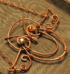 Owl Necklace Pendant Copper Wire